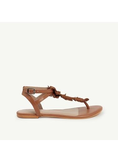Yargıcı Deri Sandalet Taba